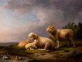 Paintings, FRANZ VAN SEVERDONCK (Belgian, 1809-1889). Landscape with Sheep, 1882. Oil on canvas. 20-1/4 x 26-1/4 inches (51.4 x 66....
