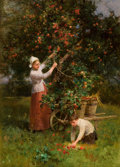 Fine Art - Painting, European:Antique  (Pre 1900), HENRY GEORGE TODD (British, 1847-1898). In the Orchard, Écouen,France. Oil on board. 18-1/4 x 13 inches (46.4 x 33.0 cm...