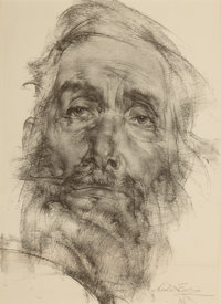 NICOLAI FECHIN (Russian, 1881-1955) Bearded Man Lithograph on paper 12 x 10 inches (30.5 x 25.4 c