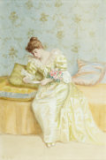 Fine Art - Painting, American:Antique  (Pre 1900), DE SCOTT EVANS (American, 1847-1898). The Love Letter.Watercolor, gouache, and pencil on paper. 23-1/2 x 15-1/2 inches...