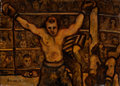 Fine Art - Painting, American:Modern  (1900 1949)  , ARTHUR SMITH (American, 20th Century). Boxers, 1935. Oil onmasonite. 16 x 22-1/2 inches (40.6 x 57.2 cm). Signed and da...