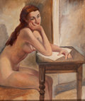Fine Art - Painting, American:Modern  (1900 1949)  , LEON KROLL (American, 1884-1974). Pensive Nude. Oil oncanvas board. 24-1/4 x 20 inches (61.6 x 50.8 cm). Signed lowerl...