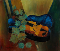 TONY AGOSTINI (Italian, 1916-1990) Composition with Violin Oil on canvas 18-1/4 x 22 inches (46.4