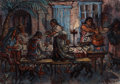 Fine Art - Painting, American:Contemporary   (1950 to present)  , PHILIP REISMAN (American, 1904-1992). Family Dinner. Oil onpaper mounted on board. 21 x 30 inches (53.3 x 76.2 cm). Sig...