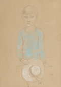 Fine Art - Work on Paper:Drawing, PERE PRUNA OCERANS (Spanish, 1904-1977). Portrait of Child withWhite Hat, 1927. Pencil and pastel on paper. 13-3/4 x 10...