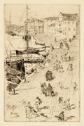 Prints, FRANK DUVENECK (American, 1848-1919). Riva degli Schiavoni II. Etching on paper. Plate: 13-1/4 x 8-1/4 inches (33.7 x 21...