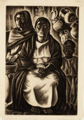 Prints, HOWARD NORTON COOK (American, 1901-1980). Mexican Interior, 1933. Etching. Plate: 16-1/8 x 10-5/8 inches (41.0 x 27.0 cm...
