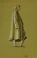 Fine Art - Work on Paper:Drawing, ROCKWELL KENT (American, 1882-1971). Finished Drawing of a Manin Medieval Costume, 1956. Pen and ink with white gouache...