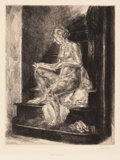 Prints, JOHN SLOAN (American, 1871-1951). Group of 2 etchings (including Nude on Stairs, 1930). Etching. Each pencil signed...