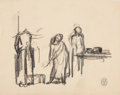 Works on Paper, ROCKWELL KENT (American, 1882-1971). Three sheets of drawings. All three stamped with Monhegan Studios stamp, 1907.. Gra...