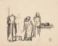 ROCKWELL KENT (American, 1882-1971) Three sheets of drawings All three stamped with Monhegan Studios