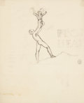 Fine Art - Work on Paper:Drawing, ROCKWELL KENT (American, 1882-1971). Drawing of a man with achild (design for New Year's card?). Pencil on tracing pape...