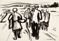 Fine Art - Work on Paper:Drawing, FRITZ WINKLER (German, 1894-1964). Group of 3 Brush and InkDrawings on four sheets depicting Peasants Working (Croppick...