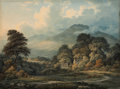 Fine Art - Work on Paper:Watercolor, JOHN GLOVER (British/Australian, 1767-1849). Extensive Landscapewith Distant Mountains, c. 1810-20s. Watercolor on pape...