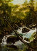 Fine Art - Painting, European:Antique  (Pre 1900), WILLIAM JOSEPH J. C. BOND (British, 1833-1926). Forest River. Oil on canvas. 12 x 9 inches (30.5 x 22.9 cm). Signed lowe...