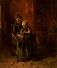 JACOB SIMON HENDRIK KEVER (Dutch, 1854-1922) Woman and Child Oil on canvas 22 x 18 inches (55.9 x