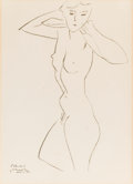 Prints, HENRI MATISSE (French, 1869-1954). Nude, 1950. Lithograph on paper. 16 x 11-1/2 inches (40.6 x 29.2 cm) (window). Signed...