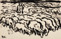 Fine Art - Work on Paper:Drawing, FRITZ WINKLER (German, 1894-1964). The Sheepfold, 1927.Brush and ink on paper. 12.25 x 19 in. (sheet). Initialled FW an...