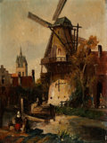 Fine Art - Painting, European:Antique  (Pre 1900), JACOB JAN COENRAAD SPOHLER (Dutch, 1837-1923). Townscape withWindmill, 1911. Oil on canvas. 16 x 12 inches (40.6 x 30.5...