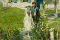 Fine Art - Painting, American:Modern  (1900 1949)  , FROM THE ESTATE OF CHARLES MARTIGNETTE. ARTHUR DAVENPORT FULLER(American, 1889-1966). Young Couple in a Garden, 1921...