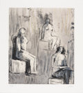 Fine Art - Work on Paper:Print, HENRY SPENCER MOORE (British, 1898-1986). Three Seated Figures, 1981. Lithograph on paper. 13 x 11 inches (33.0 x 27.9 c...