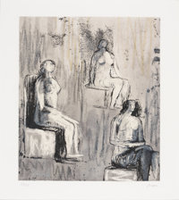 HENRY SPENCER MOORE (British, 1898-1986) Three Seated Figures, 1981 Lithograph on paper 13 x 11 i