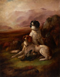 Fine Art - Painting, European:Antique  (Pre 1900), JAMES HARDY THE YOUNGER (British, 1832-1889). Hunting Dogs. Oil on canvas. 36-1/2 x 28-1/4 inches (92.7 x 71.8 cm). Sign...