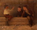 Fine Art - Painting, American:Antique  (Pre 1900), KARL WITKOWSKI (American, 1860-1910). Three Newsboys. Oil oncanvas. 24-1/4 x 30-1/4 inches (61.6 x 76.8 cm). Signed low...