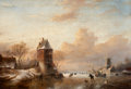 Fine Art - Painting, European:Antique  (Pre 1900), JAN JACOB SPOHLER (Dutch, 1811-1866). Winter Landscape withWindmills and Skaters. Oil on panel. 23 x 33 inches (58.4 x ...