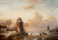 JAN JACOB SPOHLER (Dutch, 1811-1866) Winter Landscape with Windmills and Skaters Oil on panel 23