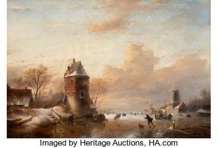 JAN JACOB SPOHLER (Dutch, 1811-1866) Winter Landscape with Windmills and Skaters Oil on panel 23 x 33 inches (58.4 x ...
