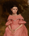 Fine Art - Painting, American:Antique  (Pre 1900), AMERICAN SCHOOL (19th century). Girl with Ringlets in PinkDress. Oil on canvas. 33 x 27 inches (83.8 x 68.6 cm). ...