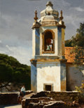 Fine Art - Painting, American, OGDEN PLEISSNER (American, 1905-1983). The Bell Tower. Oil on canvas. 13-1/2 x 10-1/2 inches (34.3 x 26.7 cm). Signed lo...