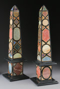 Decorative Arts, Continental:Other , A PAIR OF PIETRA DURA OBELISKS. 21-1/4 inches (54.0 cm) high, each.... (Total: 2 Items)