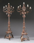 Decorative Arts, Continental:Lamps & Lighting, A PAIR OF WROUGHT IRON FIVE LIGHT FLOOR STANDING CANDELABRA. 70inches (177.8 cm) high, each. ... (Total: 2 Items)