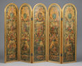 Furniture : French, A FRENCH PAINTED CANVAS FIVE PANEL SCREEN. 19th Century. 73 x21-3/4 inches (185.4 x 55.2 cm) each panel. ...