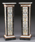 Furniture : Continental, A PAIR OF PIETRA DURA PEDESTALS. 53 x 17 x 17 inches (134.6 x 43.2x 43.2 cm) each. ... (Total: 2 Items)