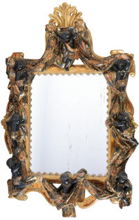 A VENETIAN PARCEL GILT AND POLYCHROME WOOD OVERMANTLE MIRROR Late 19th Century 73 x 48 inches (185.4 x 121.9 cm