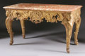 Furniture : Continental, AN ITALIAN ROCOCO STYLE GILT WOOD SALON TABLE WITH MARBLE TOP .18th Century. 33-1/2 x 58 x 28 inches (85.1 x 147.3 x 71.1 c...