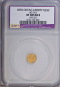 California Fractional Gold: , 1870 25C Liberty Octagonal 25 Cents, BG-762, Low R.4,--Holed--NCS.XF Details. NGC Census: (0/10). PCGS Population (1/105)....