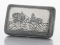 Silver Smalls:Cigarette Cases, A RUSSIAN SILVER, SILVER GILT AND NIELLO CIGARETTE CASE. Makerunidentified, Russia, circa 1890. Marks: AO, 84. 1-1/8 x ...