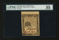 Colonial Notes:Pennsylvania, Pennsylvania April 25, 1776 18d PMG About Uncirculated 55....