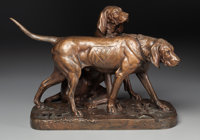 After AUGUSTE NICOLAS CAIN (French, 1822-1894) Brillador and Fanfaron: Coupled Hounds Bronze with pa