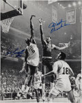 Basketball Collectibles:Others, Bill Russell and Wilt Chamberlain Dual-Signed Photograph, Graded PSA Gem Mint 10. ...