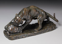GEORGES GARDET (French, 1863-1939) Tiger Attacking a Tortoise Bronze with patina 18 inches (45.7
