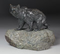 Fine Art - Sculpture, European:Antique (Pre 1900), A FRENCH OR RUSSIAN BRONZE BEAR ON MARBLE BASE. Late 19th Century.15-1/2 inches (39.4 cm) long. ...