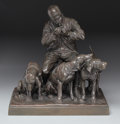Fine Art - Sculpture, European:Antique (Pre 1900), ISIDORE JULES BONHEUR (French, 1827-1901). Seated Huntsman withHounds. Bronze with patina. 15 inches (38.1 cm) high. Si...