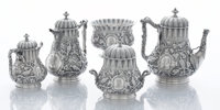 AN AMERICAN SILVER FIVE-PIECE TEA AND COFFEE SERVICE William Gale, New York, New York, circa 1860 Marks: TIF