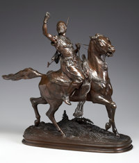PIERRE JULES MÊNE (French, 1810-1879) The Arab Falconer Bronze with patina 27 inches (68.6 cm) hi
