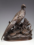 Fine Art - Sculpture, European:Antique (Pre 1900), JULES MOIGNIEZ (French, 1835-1894). Pheasant with Weasel.Bronze with patina. 21-7/8 inches (55.4 cm) high. Signed on ba...